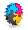 Cmyk puzzle gear creative color printing computer technology typography press and publishing abstract concept colorful jigsaw on Royalty Free Stock Photos