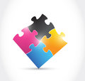 Cmyk puzzle illustration design over a white background Royalty Free Stock Photos