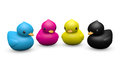 Cmyk rubber duck playful symbolic toy a set of funny dressing with c processing printing ink colors Royalty Free Stock Image
