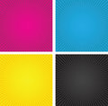 Cmyk spiral boxes a set of three Stock Image
