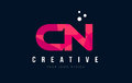 CN C N Letter Logo with Purple Low Poly Pink Triangles Concept