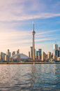 Cn tower and toronto city view canada june of the rogers center opened in as the home of blue jays is the first to have Royalty Free Stock Image