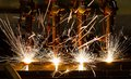 Cnc lpg cutting with sparks close up Stock Photography