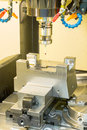 Cnc machining center inspection dimension on machine by prob Stock Images