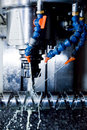 CNC machining station at work. Milling, threading industry.