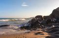 Co Thach Rock beach with wave in the sunlight morning Royalty Free Stock Photo