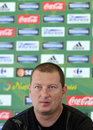 Coach of concordia chiajna ionut chirila during a press conference s speaks held with the ocasion the romanian league play off Royalty Free Stock Photography