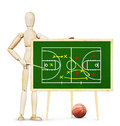 Coach shows plan of basketball game on the green chalkboard Royalty Free Stock Photo