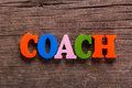 Coach word made of wooden letters Royalty Free Stock Photo