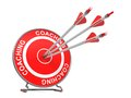 Coaching business background three arrows hitting the center of a red target where is written d render Stock Photography