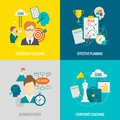 Coaching business flat design concept set with corporate leadership effective planning icons isolated vector Stock Photo