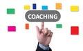 Coaching coaching guide instructor leader man pushing touching virtual web browser address bar or search bar Royalty Free Stock Photos