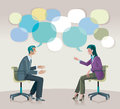 Coaching communication a man and a woman sitting talk to each other openly and creatively Royalty Free Stock Photography