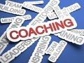 Coaching concept text on blue background with selective focus d render Royalty Free Stock Photo