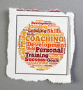 Coaching notice personal word cloud Stock Images