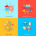 Coaching sport flat design concept set with achieving victory motivation to success sports training and icons isolated vector Royalty Free Stock Photos