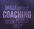 Coaching tag cloud on violet Royalty Free Stock Image