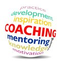 Coaching word cloud as colored word sphere new top trend Royalty Free Stock Photo