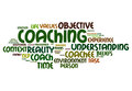 Coaching word cloud about environment Stock Image