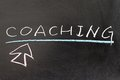 Coaching word and mouse pointer drawn on chalkboard Royalty Free Stock Photography
