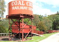 Coal creek railway siding water tank and train carriages in australia very popular tourist destination Stock Photography