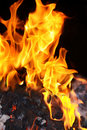 Coal fire flames Royalty Free Stock Photo