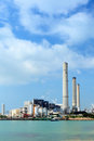 Coal fired electric power plant at day time Royalty Free Stock Photos