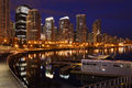 Coal Harbor Towers Night, Vancouver Royalty Free Stock Photo