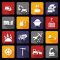 Coal industry icons flat Royalty Free Stock Photo