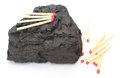 Coal lump with matches on white background large isolated Royalty Free Stock Photo