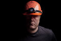 Coal miner on a black background Royalty Free Stock Image