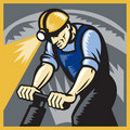 Coal Miner Drilling Pneumatic Drill Retro Woodcut Royalty Free Stock Photos