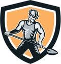 Coal Miner Hardhat Shovel Shield Retro