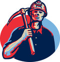 Coal miner pick axe retro illustration of a wearing hardhat with facing front set inside oval done in style Stock Photo