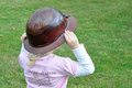 Coal miners daughter little girl wearing a cap with a pink shirt with caption Royalty Free Stock Photo
