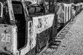 Coal mining carts train railway Royalty Free Stock Photo