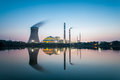 Coal power plant in nightfall industrial landscape Royalty Free Stock Images