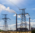 Coal power plant pollution and power lines. Royalty Free Stock Photo