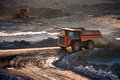 Coal preparation plant big mining truck at work site coal trans transportation Stock Photos