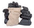 Coal in sack Royalty Free Stock Photos