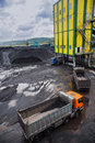 Coal shipment processing factory producing coking Royalty Free Stock Photo