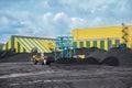 Coal shipment processing factory producing coking Stock Photo
