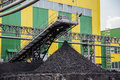 Coal shipment processing factory producing coking Royalty Free Stock Images