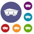 Coal trolley icons set