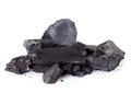 Coal on white background Stock Photo