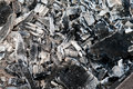 Coals in the ash and embers of bonfire after barbecue cooking Royalty Free Stock Photos