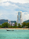 Coast Andaman Sea, beach and hotels Stock Photos