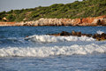 Coast of crete greece olive trees the sea the waves on the Stock Photo