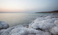 Coast of dead sea jordan cost with amazing salt forms located in part Royalty Free Stock Image