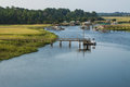 Coast of georgia grass marsh boat docks Stock Images
